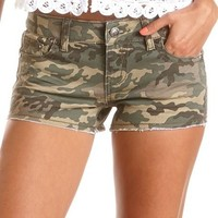 Hot Kiss Camo Print Denim Short: Charlotte Russe