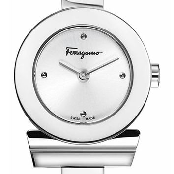 Women's Salvatore Ferragamo 'Gancino' Bracelet Watch, 22mm - Silver