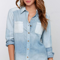 Simple Abundance Light Wash Jean Long Sleeve Button-Up Top