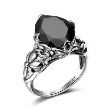 Faceted Black Oval 925 Sterling silver ring