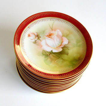Antique Plates Hand Painted Porcelain. R S Germany. Set of 10. Pink Roses. Red & Gold