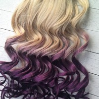 Blonde Violet Hair Extensions/Violet Purple Ombre/Purple DipDye/