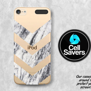 Marble Clear iPod 5 Case iPod 6 Case iPod 5th Generation iPod 6th Generation Rubber Case Gen Clear Case Gray Marble Chevron Pattern Tumblr