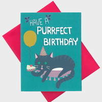 Funny Birthday Card - Have A Purrfect Birthday - Cat Lover Card - Birthday Card - Animal Drawing - Funny Cat Birthday Card