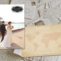 "50 Wedding Thank You Cards - Travel II Vintage Photo Personalized 4""x6"""