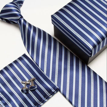 Navy and Grey Stripped Necktie Set with Matching Cufflinks, Pocketsquare and Gift Box