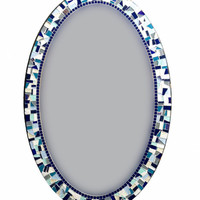 Large Oval Mosaic Mirror - Navy Blue, White, Aqua -- Ready to Ship