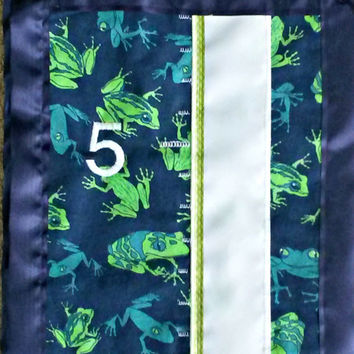 Blue and Green Frog Growth Chart cloth, fabric, keepsake, hanging)