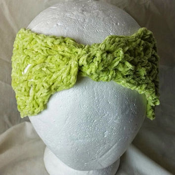 Lime Green  turban head band Cotton hair twist wrap Yoga  hair tie Chenille hair scarf  Ladies head wrap Boho hippie style accessory