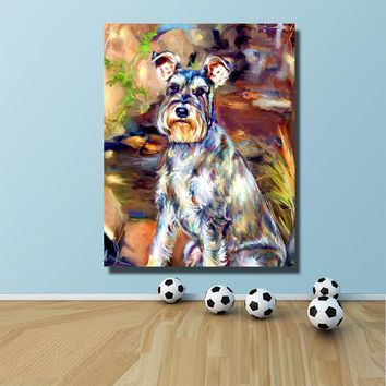 HDARTISAN Schnauzer Dog Oil Painting on Canvas prints Wall Art Picture for Living Room posters and prints