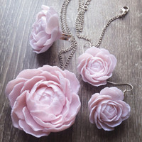 Floral jewelry, rose jewellery set, ring, earring, pendant, nature flowers jewellery, botanical ring, clay flowers
