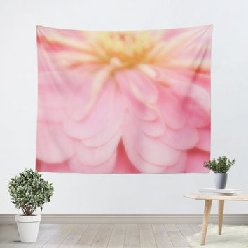 Abstract Pink and Yellow Flower Tapestry