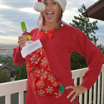 Wine Holder, Ugly Christmas Sweater, woman's Large, wine, novelty, liquor holder, novelty