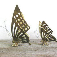 vintage set of 2 brass butterflies wall hanging home decor