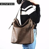 Monfere large casual hobo bag women soft fashion girls shoulder bags female rock rivets zipper strap bags  crossbody bag handbag