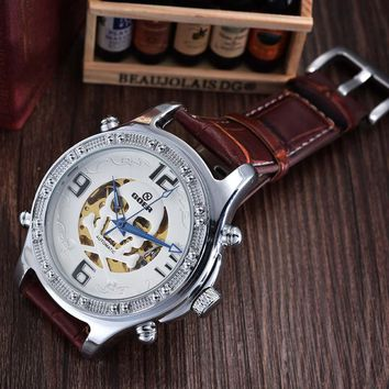 New Design Luxury Automatic Mechanical Skeleton Watches Fashion Casual Skull Watch PU Leather Men Watches