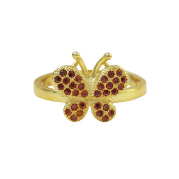 Gold Plated Sterling Silver, Garnet CZ Butterfly Adjustable Ring