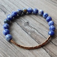 Sodalite + Rose Gold Bar Bracelet