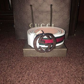 DCCKNX Gucci Mens White Signature Web Belt 46/115