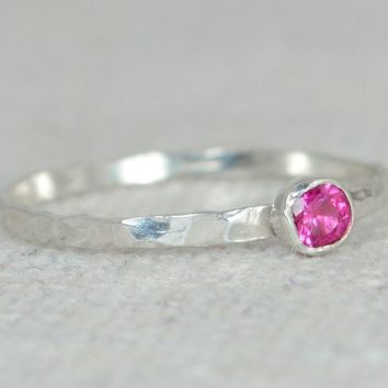 Dainty Silver Ruby Ring