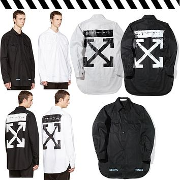 Off White Printing Paint Arrow Long-sleeved Shirt M--XXL