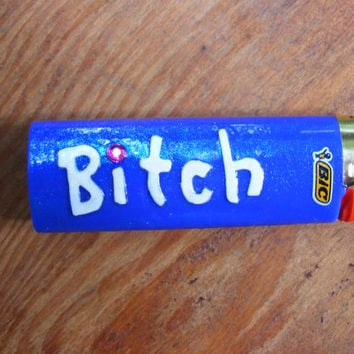 Bitch Large Blue Bic with Rhinestone