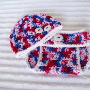 Baby Boy Diaper Cover Set in Red White and Blue, Crochet Diaper Cover Set, Newborn Diaper Cover, Patriotic Baby Set, Patriotic Diaper Cover