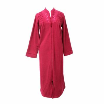 Miss Elaine Brushed Back Terry Zip Front Long Robe 866005 Medium Red