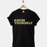 Know Yourself DTG ScreenPrint 100% pre-shrunk cotton for t shirt mens and t shirt woman at kahitna