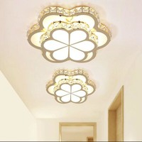 Flowers LED Chandeliers Ceiling Golden Crystal Chandelier Corridor Lamps Lustre Acrylic Luminaria for Bedroom Light Iluminacion