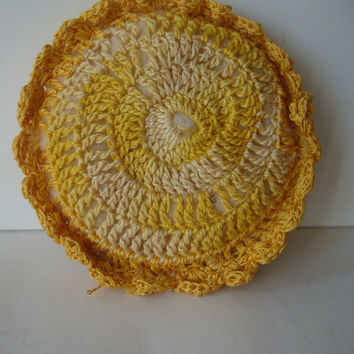 Vintage Pin Cushion Round Yellow an Red Doily Crocheted Lace