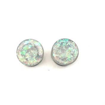 Frosty clear holographic plugs / pretty gauges / 8g, 6g, 4g, 2g, 0g, 00g, 7/16, 1/2, 9/16, 5/8, 11/16, 3/4, 7/8, 1 inch / clear plugs