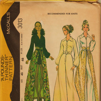 70's Boho McCall's Pattern 3013 Split Maxi & Hotpants Jumpsuit PLUS Sz 42 (Vintage 24) Uncut FF Authentic Hippie Sewing Patterns Supplies