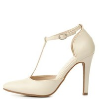 Pointed Toe T-Strap Pumps by Charlotte Russe - Nude