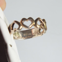 Silver Heart Ring with 5 Hearts, Size 6 1/4, Silver 925, Very Pretty Vintage Ring