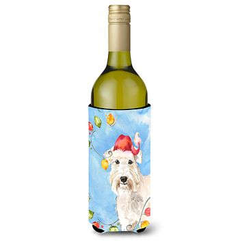 Christmas Lights Wheaten Terrier Wine Bottle Beverage Insulator Hugger CK2499LITERK