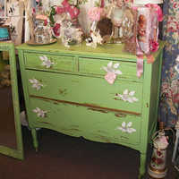 Painted wood dresser custom mixed cottage green weathered shabby chic wooden salvaged furniture roses made into handles by anita spero
