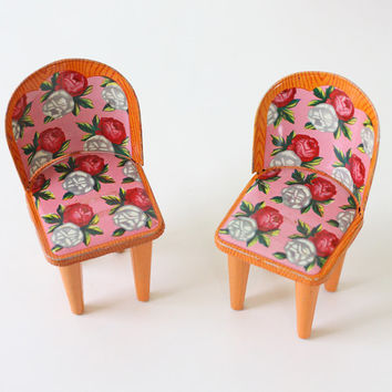 Vintage Doll Furniture - Floral Metal Chairs and Table