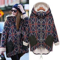 Union Jack Patterned Padded Jacket With  Pocket