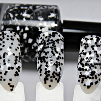 Checkmate - Alice in Wonderland Chessboard Custom Black White Square Glitter Nail Polish