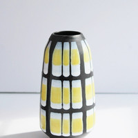 "Stunning Strehla Keramik Fat Lava Pottery Vase / Geometric Hand Painted Yellow White Black (7.25"") / Germany Midcentury 1950s - 1960s"