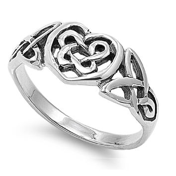 925 Sterling Silver Celtic Pagan Heart Fusion Ring