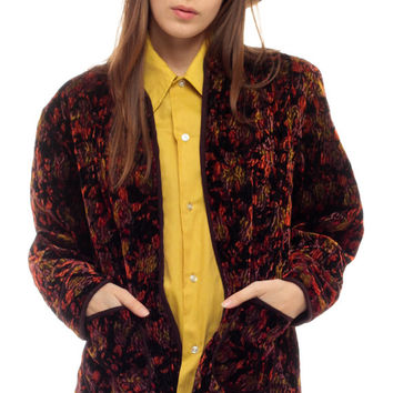 VELVET Jacket Blazer FLORAL Grunge Wrap Open Front Asian Jacket 80s Boho Mandarin Collar Vintage 1980s Bohemian Hipster Red Purple Medium