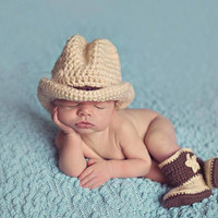 Crochet Baby Cowboy Hats and Boots set Costumes dallas cowboys hat newborn photography props outfits accessories