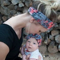 2015 Retail Mom and Me Headband With Knit Fabric Bow Headband  Baby and Mommy Headband Turban Cotton BOHO Knit Headband