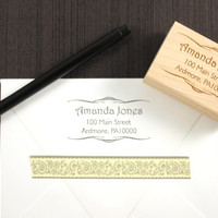 Unique Address Stamp with Vintage Scrolls