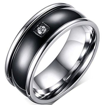 9mm Titanium Stainless Steel Cubic Zirconia CZ Vintage Wedding Ring Engagement Band Black&Silver High Polished Domed Center