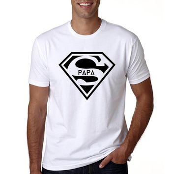 2018 Super Papa T-shirt Fathers Day Gift New Dads Funny T Shirt Best Dad Tshirt Men Summer Casual Hipster Slogan Tee Shirt Homme