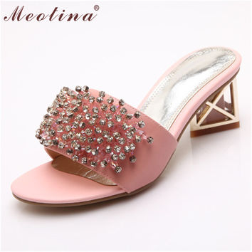 Meotina Luxury Shoes Women Sandals Open Toe Slippers Natural Genuine Leather Slides Mid Heels Crystal Ladies Sandals White 34-39