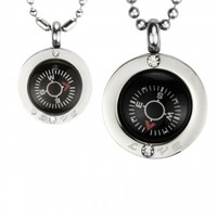 "Direction of Love Compass Stainless Steel Pendant Necklace Set 16""/20-24"""